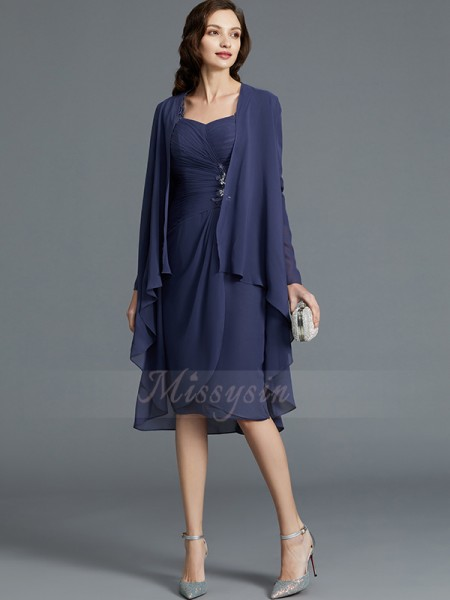Sheath/Column Knee-Length Sweetheart Chiffon 1/2 Sleeves Mother of the Bride Dresses