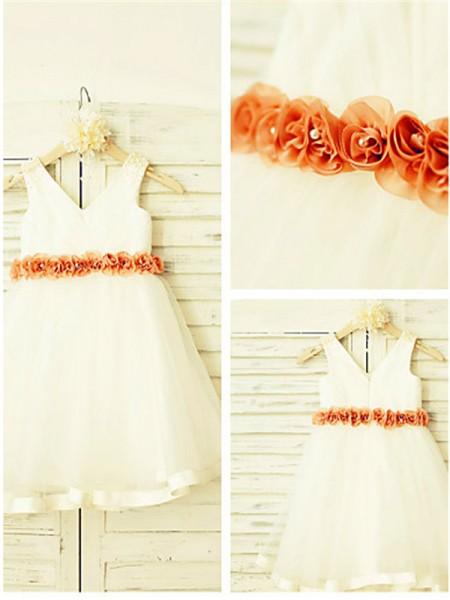 A-line/Princess V-neck Sleeveless Hand-made Flower Tea-Length Tulle Flower Girl Dresses