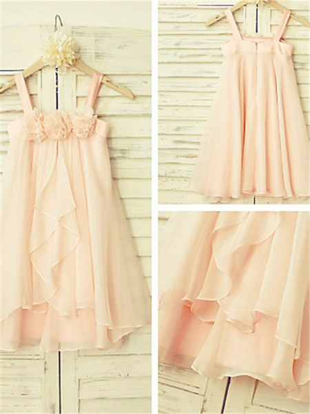 A-line/Princess Spaghetti Straps Tea-Length Sleeveless Chiffon Ruffles Flower Girl Dresses