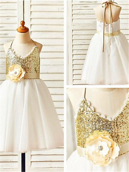 A-line/Princess Halter Tea-Length Sleeveless Tulle Sequin Flower Girl Dresses