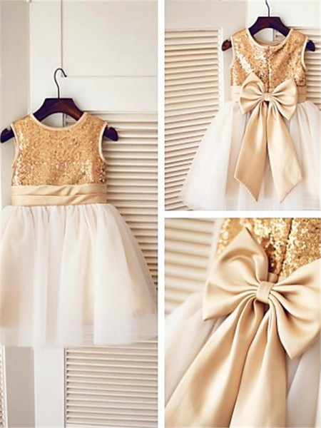 A-line/Princess Scoop Knee-Length Sleeveless Tulle Sequin Flower Girl Dresses