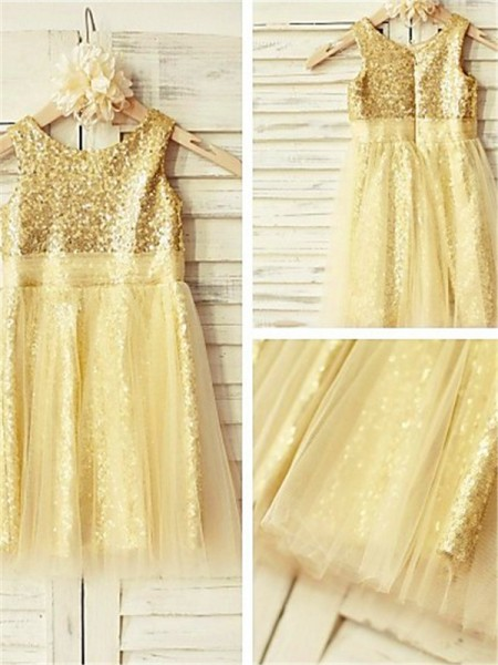 A-line/Princess Scoop Tea-Length Sleeveless Sequins Ruffles Flower Girl Dresses