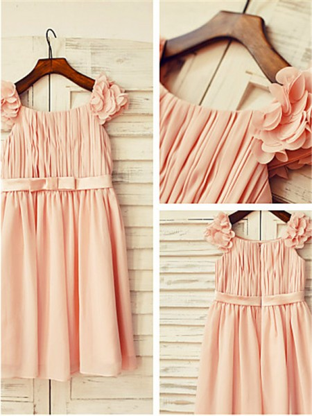A-line/Princess Straps Sleeveless Layers Floor-Length Chiffon Flower Girl Dresses