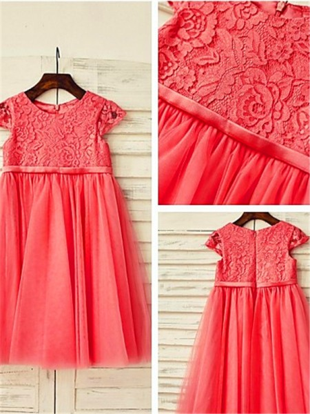 A-line/Princess Scoop Short Sleeves Lace Tea-Length Tulle Flower Girl Dresses