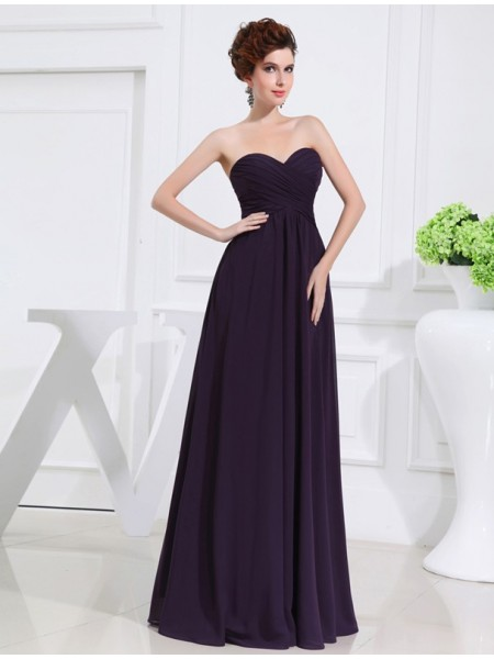 A-Line/Princess Sleeveless Sweetheart Chiffon Pleats Floor-Length Bridesmaid Dresses