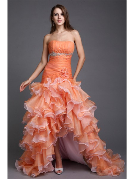 Ball Gown Sleeveless Strapless Organza Beading Asymmetrical Dresses