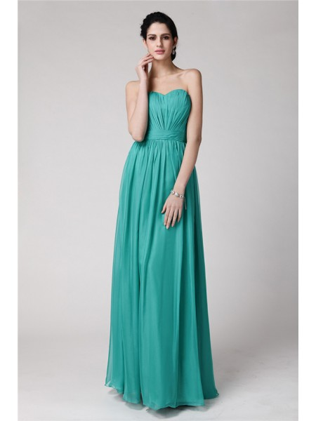 Sheath/Column Sleeveless Sweetheart Chiffon Pleats Floor-Length Bridesmaid Dresses