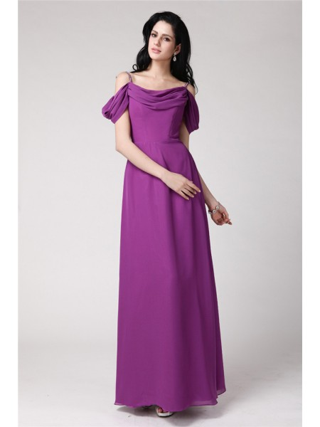 Sheath/Column Sleeveless Spaghetti Straps Chiffon Pleats Floor-Length Bridesmaid Dresses