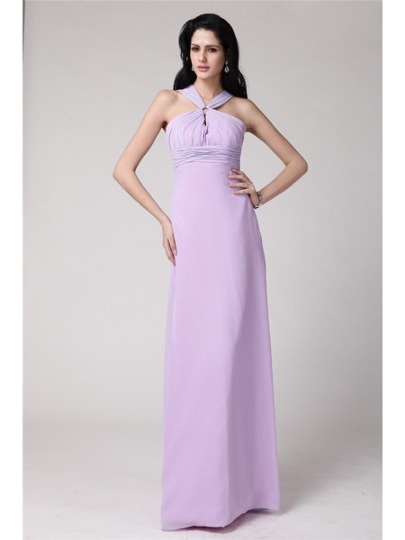 Sheath/Column Sleeveless High Neck Chiffon Pleats Floor-Length Bridesmaid Dresses