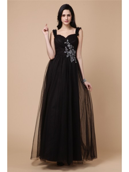 A-Line/Princess Sleeveless Straps Net Beading,Applique Ankle-Length Dresses