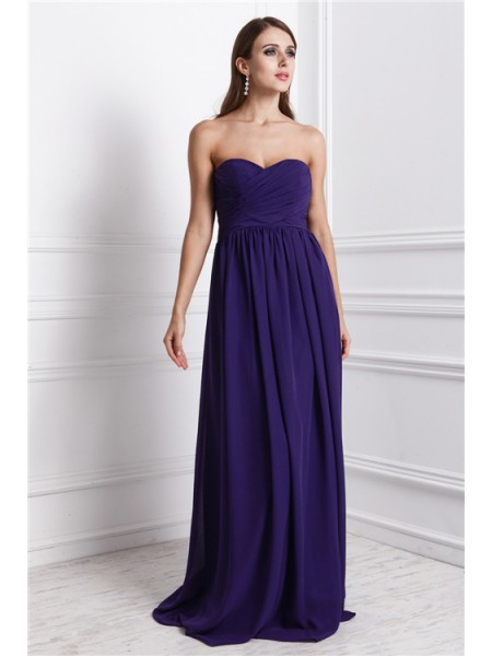 Sheath/Column Sleeveless Sweetheart Chiffon Ruffles Floor-Length Bridesmaid Dresses