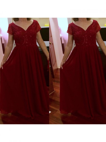 A-Line/Princess Short Sleeves V-neck Chiffon Beading Floor-Length Mother of the Bride Dresses