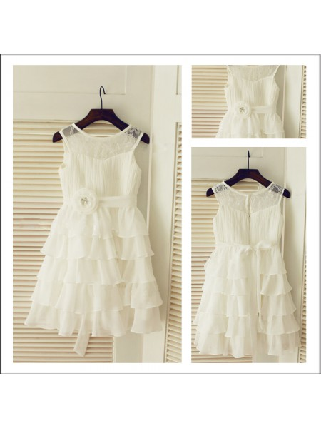 A-Line/Princess Sleeveless Scoop Chiffon Layers Tea-Length Flower Girl Dresses