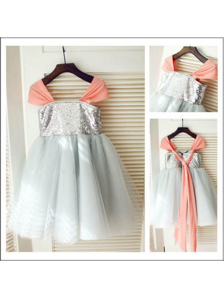 A-Line/Princess Sleeveless Straps Tulle Sequin Tea-Length Flower Girl Dresses