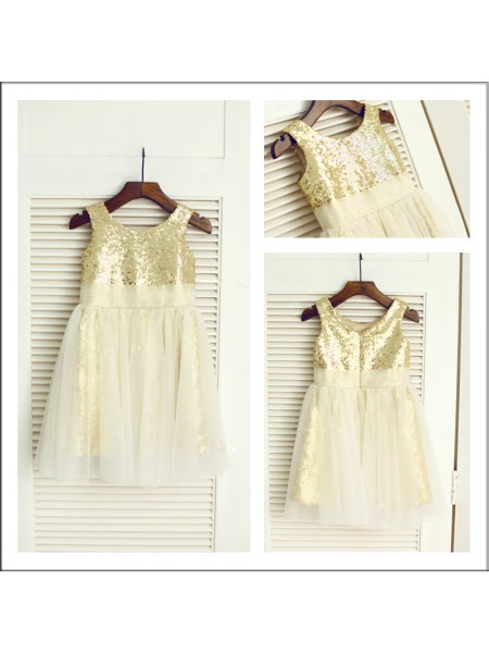 A-Line/Princess Sleeveless Scoop Sequins Sequin Tea-Length Flower Girl Dresses