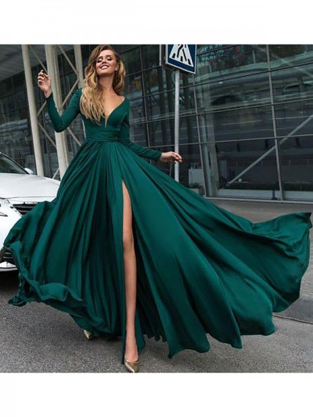 A-Line/Princess V-Neck Satin Chiffon Ruffles Floor-Length Long Sleeves Dresses