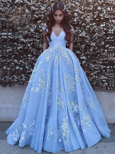 Ball Gown Off-the-Shoulder Tulle Applique Sweep/Brush Train Sleeveless Dresses