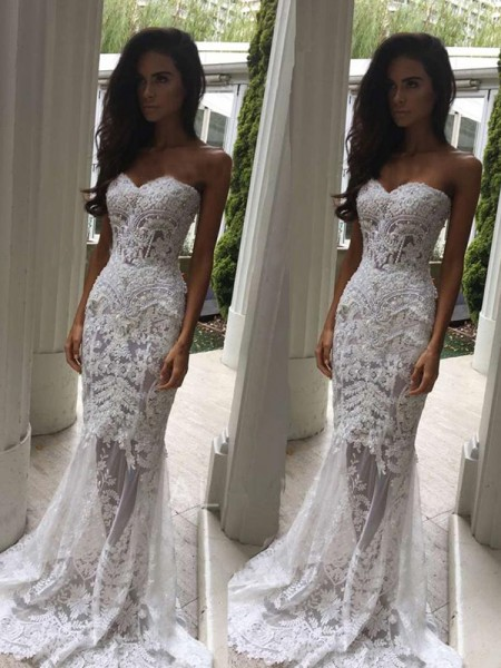 Trumpet/Mermaid Sweetheart Court Train Sleeveless Applique Lace Wedding Dresses