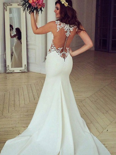 Trumpet/Mermaid Scoop Sweep/Brush Train Sleeveless Applique Lace Wedding Dresses