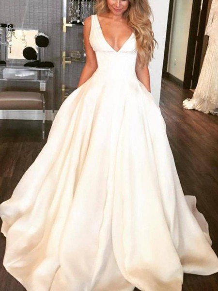 A-Line/Princess V-neck Sweep/Brush Train Sleeveless Ruffles Satin Wedding Dresses