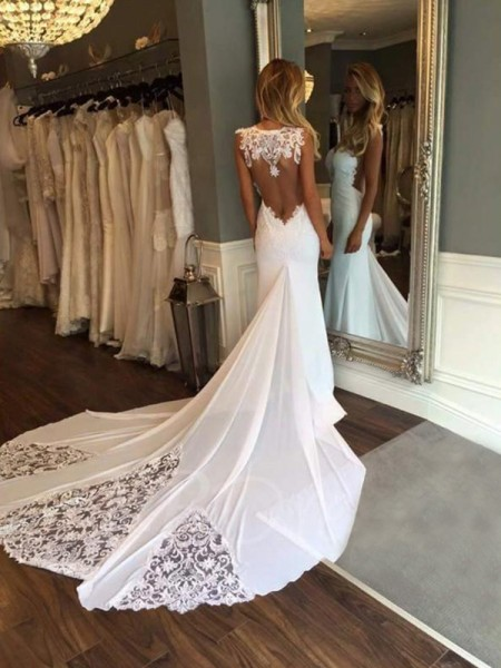 Trumpet/Mermaid Sweetheart Cathedral Train Sleeveless Applique Lace Wedding Dresses