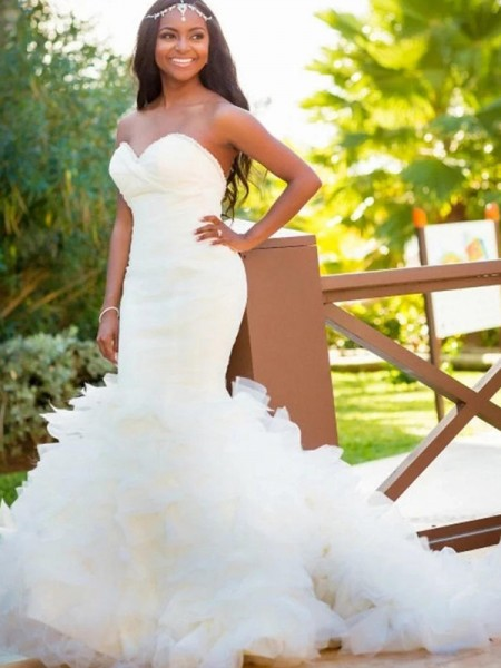 Trumpet/Mermaid Sweetheart Court Train Sleeveless Organza Wedding Dresses