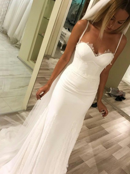 Sheath/Column Sweetheart Sweep/Brush Train Sleeveless Satin Wedding Dresses