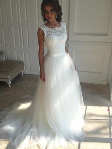 A-Line/Princess Square Court Train Sleeveless Beading Tulle Wedding Dresses