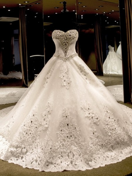 Ball Gown Sweetheart Cathedral Train Sleeveless Sequin Tulle Wedding Dresses