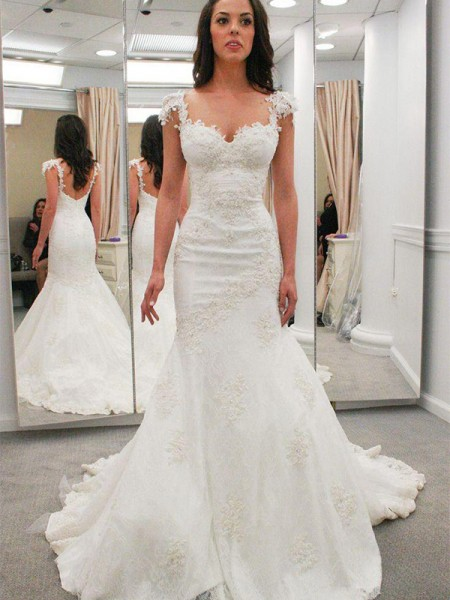 Trumpet/Mermaid Sweetheart Chapel Train Short Sleeves Applique Lace Wedding Dresses