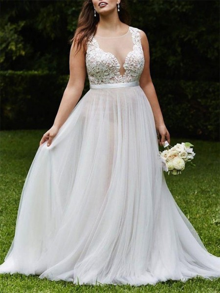 A-Line/Princess Scoop Court Train Sleeveless Tulle Wedding Dresses