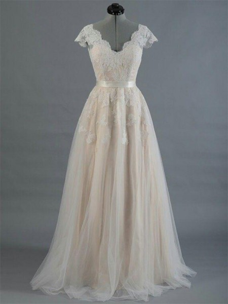 A-Line/Princess V-neck Floor-Length Sleeveless Applique Lace Wedding Dresses