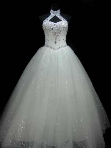 Ball Gown Halter Floor-Length Sleeveless Beading Tulle Wedding Dresses
