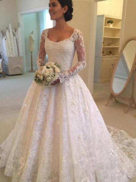 Ball Gown Scoop Cathedral Train Long Sleeves Ruffles Lace Wedding Dresses