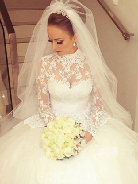 Ball Gown High Neck Cathedral Train Long Sleeves Lace Wedding Dresses