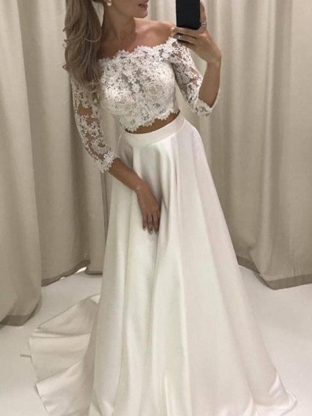 A-Line/Princess Off-the-Shoulder Court Train 3/4 Sleeves Applique Satin Wedding Dresses