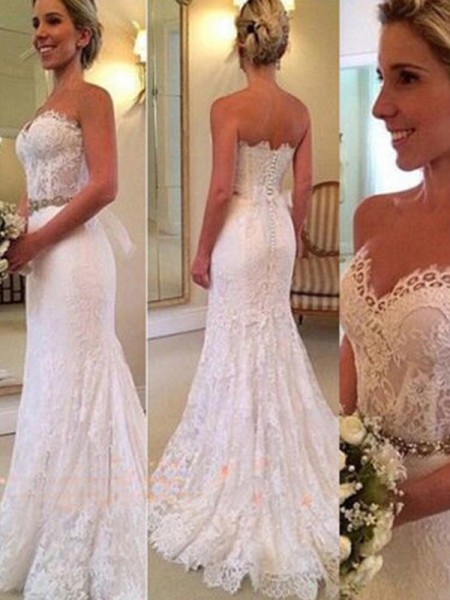 Trumpet/Mermaid Sweetheart Sweep/Brush Train Sleeveless Applique Lace Wedding Dresses