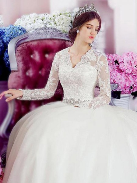 A-Line/Princess V-neck Cathedral Train Long Sleeves Applique Tulle Wedding Dresses