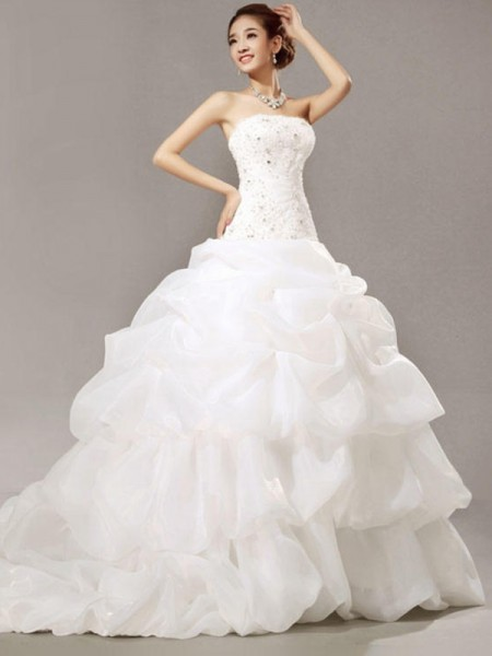 Ball Gown Strapless Cathedral Train Sleeveless Beading Organza Wedding Dresses