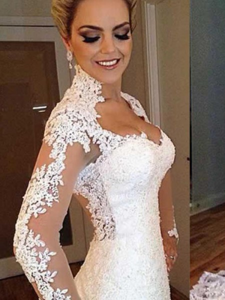 Trumpet/Mermaid V-neck Sweep/Brush Train Long Sleeves Applique Lace Wedding Dresses