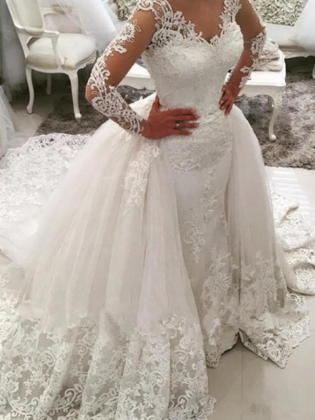 Ball Gown V-neck Cathedral Train Long Sleeves Applique Tulle Wedding Dresses