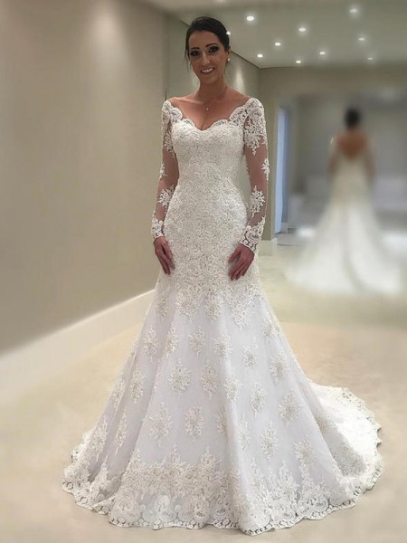 Trumpet-Mermaid V-neck Court Train Long Sleeves Applique Lace Wedding Dresses