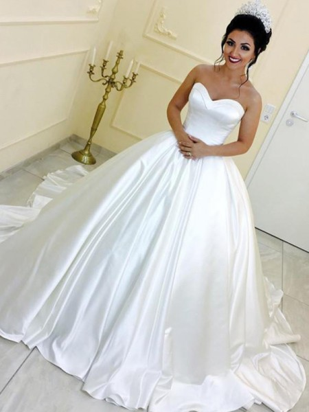 Ball Gown Sweetheart Cathedral Train Sleeveless Sash/Ribbon/Belt Satin Wedding Dresses