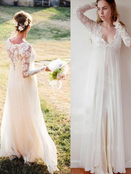 Empire V-neck Floor-Length Long Sleeves Chiffon Wedding Dresses