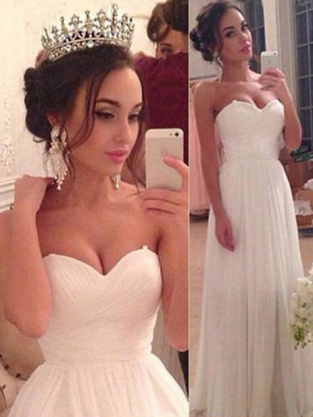 A-Line/Princess Sweetheart Floor-Length Sleeveless Ruffles Chiffon Wedding Dresses