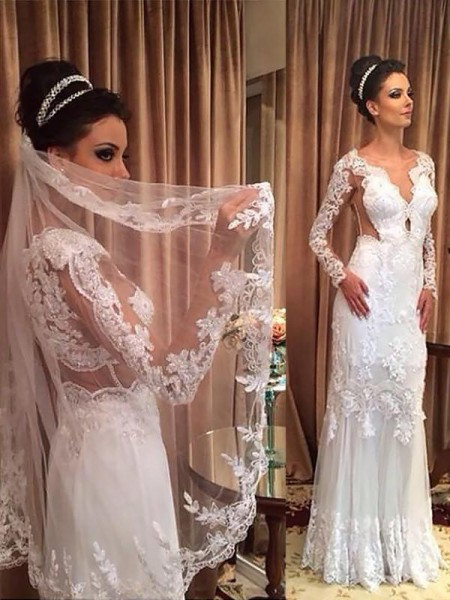 Sheath/Column V-neck Sweep/Brush Train Long Sleeves Applique Tulle Wedding Dresses