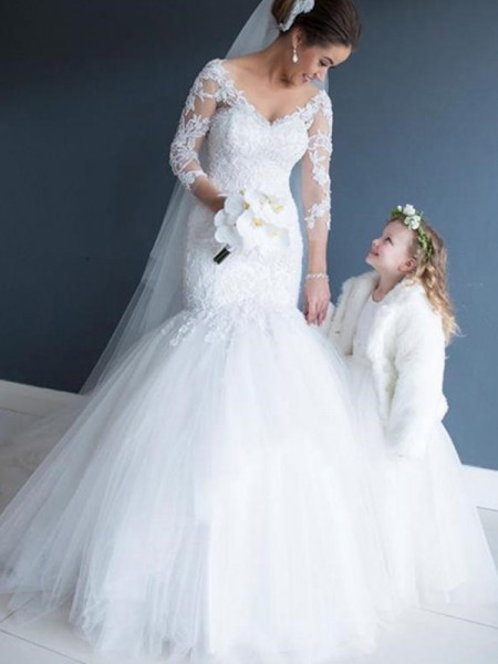 Trumpet/Mermaid Off-the-Shoulder Sweep/Brush Train 1/2 Sleeves Tulle Wedding Dresses
