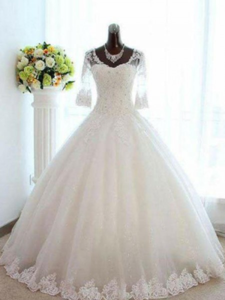 Ball Gown Bateau Floor-Length 3/4 Sleeves Beading Tulle Wedding Dresses