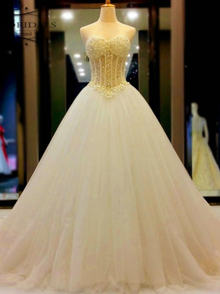 Ball Gown Sweetheart Court Train Sleeveless Beading Tulle Wedding Dresses