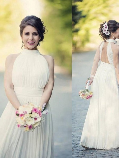 A-Line/Princess Halter Floor-Length Sleeveless Ruffles Tulle Wedding Dresses